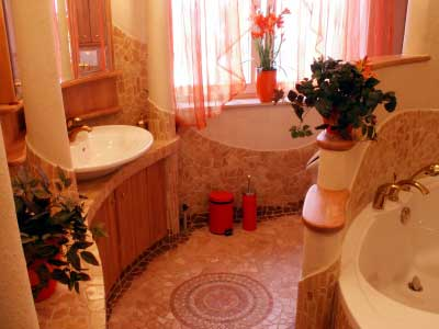 This Bathroom Design Is A Good Example Of Using Monochromatic Color Scheme The Main Red And Had Been Used For Accents Rubbish Bin