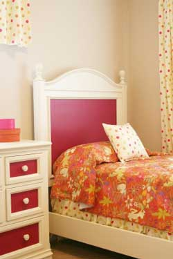 Contemporary Bedroom Color Scheme Fun with Florals and Polka Dots