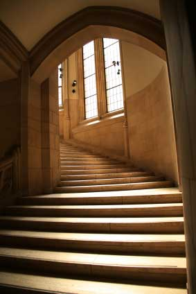 Design process for a Beautiful Stairwell, where are the handrails?