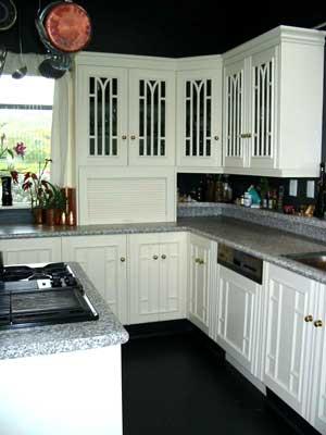 kitchen pot racks - Pot rack top left corner adding a new dimension to the space.