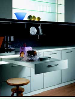 Kitchen counter top - simple drawer pull system for additional counter top space