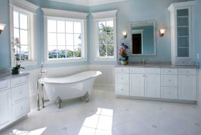 Blue and white, color and crisp, and ideal color scheme for a bathroom.