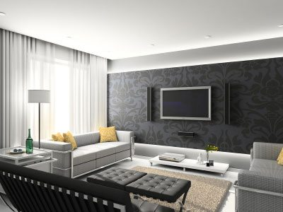 The grey wallpaper is the focal point of this contemporary room.
