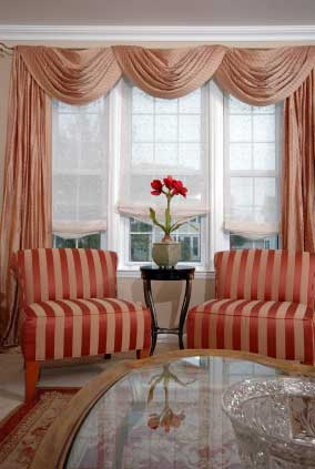Traditional Swags And Tails Frame The Three Windows Treating Window Treatments As A Single Then Each Is Dressed Individually With