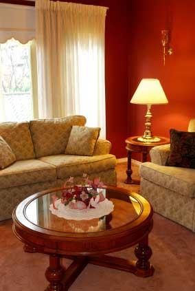 Simple cream curtains in this living room.