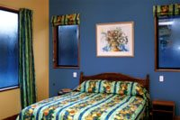 Blue and tan, adding symmetry to the room