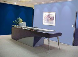 Psychological Effects of Color - Blue - soft and calming in a reception area.