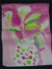 This is a painting by a six year old, it portrays so much with so little detail, having an uncluttered vision of the world enables you to see the basic form of the subject.