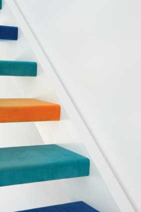 open riser color stair - Colored stair treads create a fun stair.